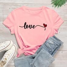 T-Shirt mit Buchstaben & Herzen Muster