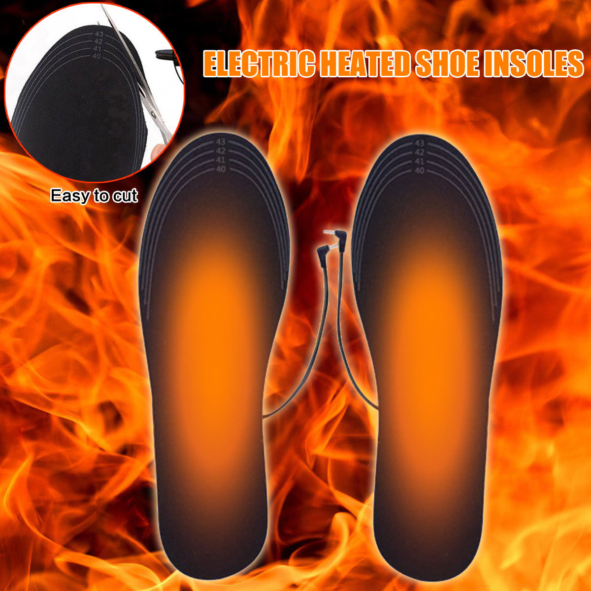 Black Electric Heated Shoe Insole Warm Foot Heater Breathable Deodorant Washable Tailorable Size Pad