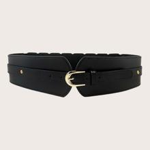 Solid Metal Buckle Wide Belt