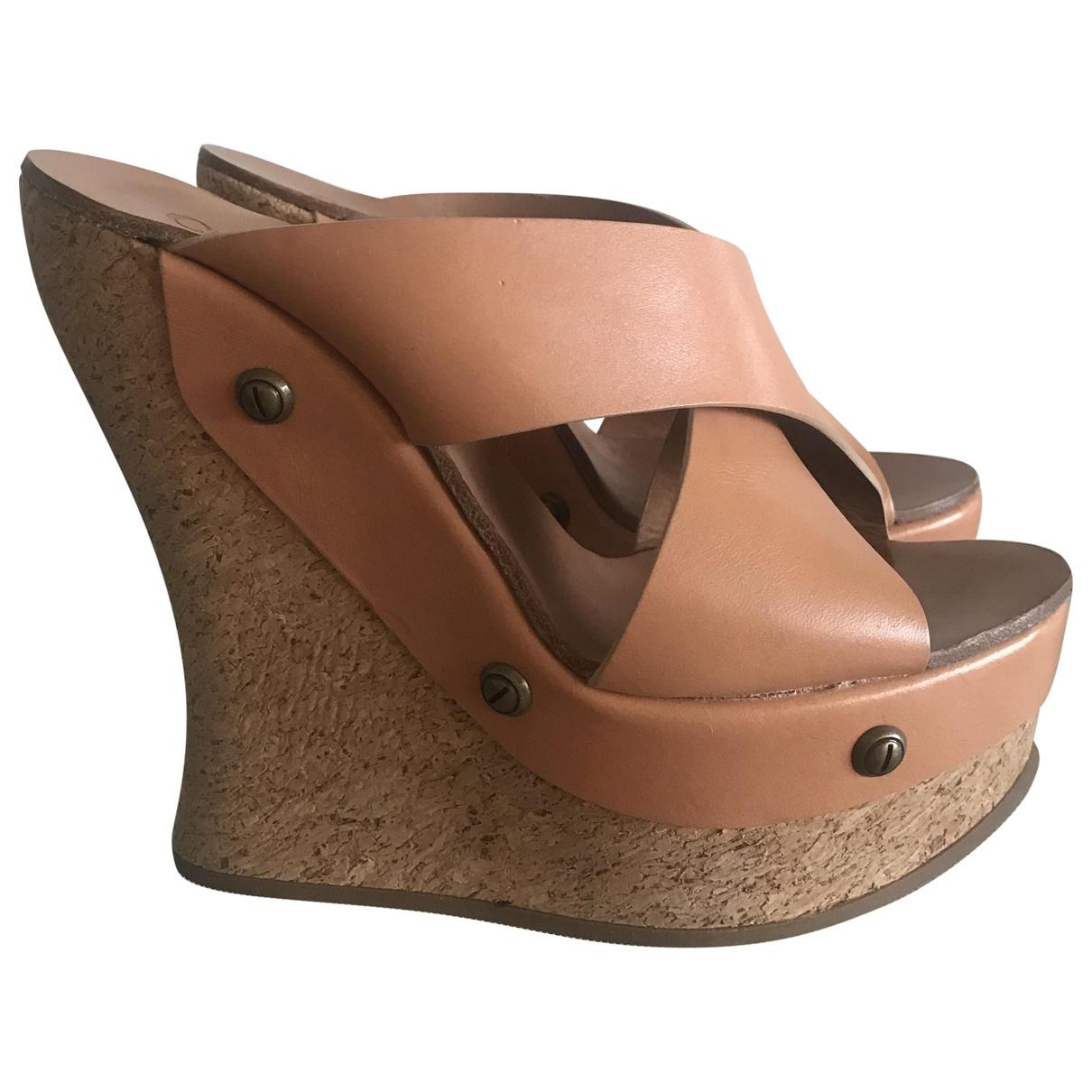 Chloe - Sabots   pour femme en cuir - camel