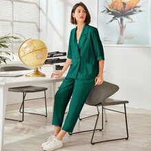 3 Stuecke Einfarbiges Cami Top & Blazer mit Reverskragen & Hose mit geradem Beinschnitt