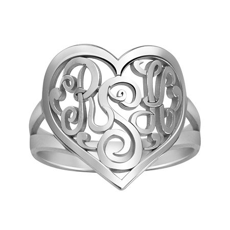 Personalized 18mm Script Monogram Heart Ring, 6 1/2 , White