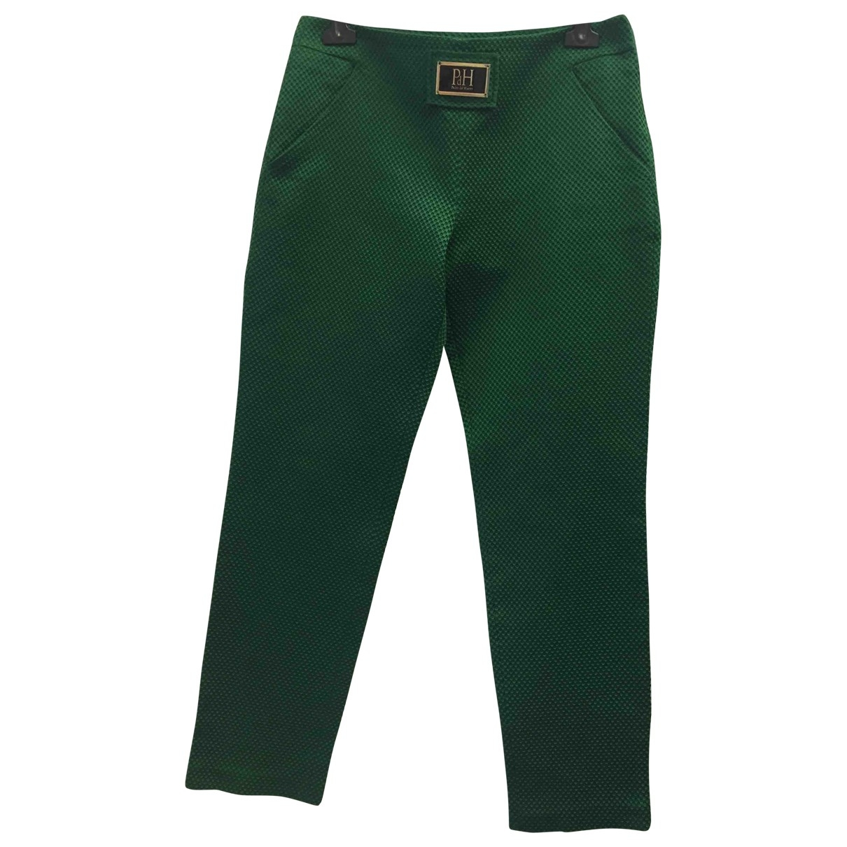 Pedro Del Hierro \N Green Cotton Trousers for Women 38 FR