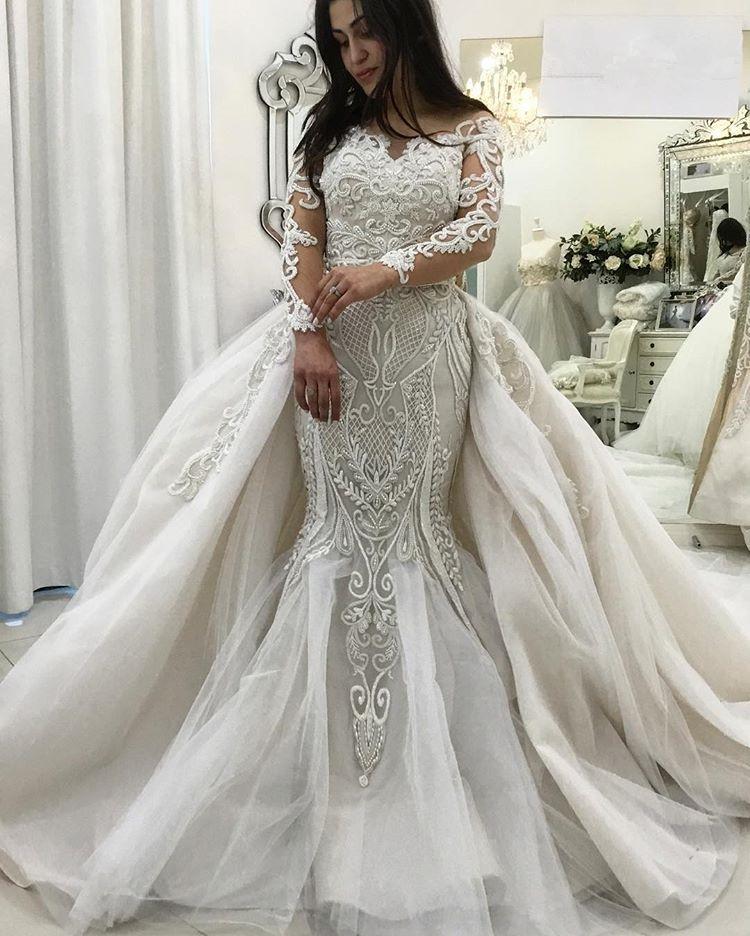 Vestidos de novia de sirena de encaje de manga larga preciosos Tren desmontable | Vestidos de novia de volantes 2021