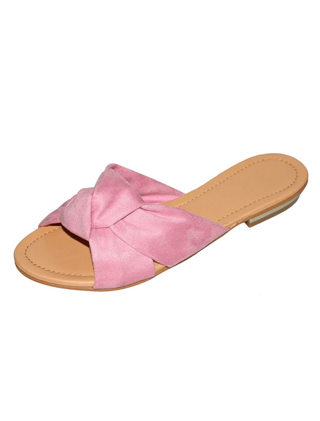 Milanoo Women Slide Sandals Soft Pink Knotted Flat Sandals Terry Sandal Slippers