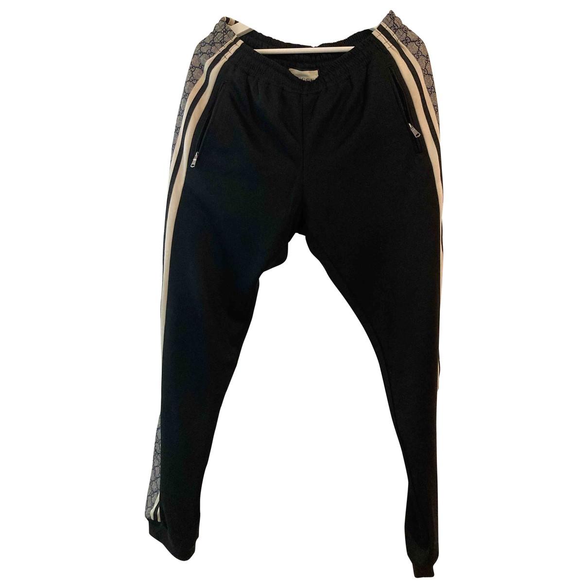 Pantalones en Algodon Negro Gucci