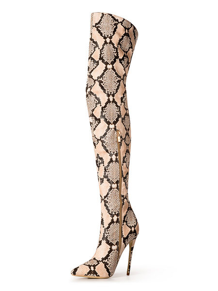 Milanoo Thigh High Boots Womens Snake Print Synthetic Pointed Toe Stiletto Heel Over The Knee Boots