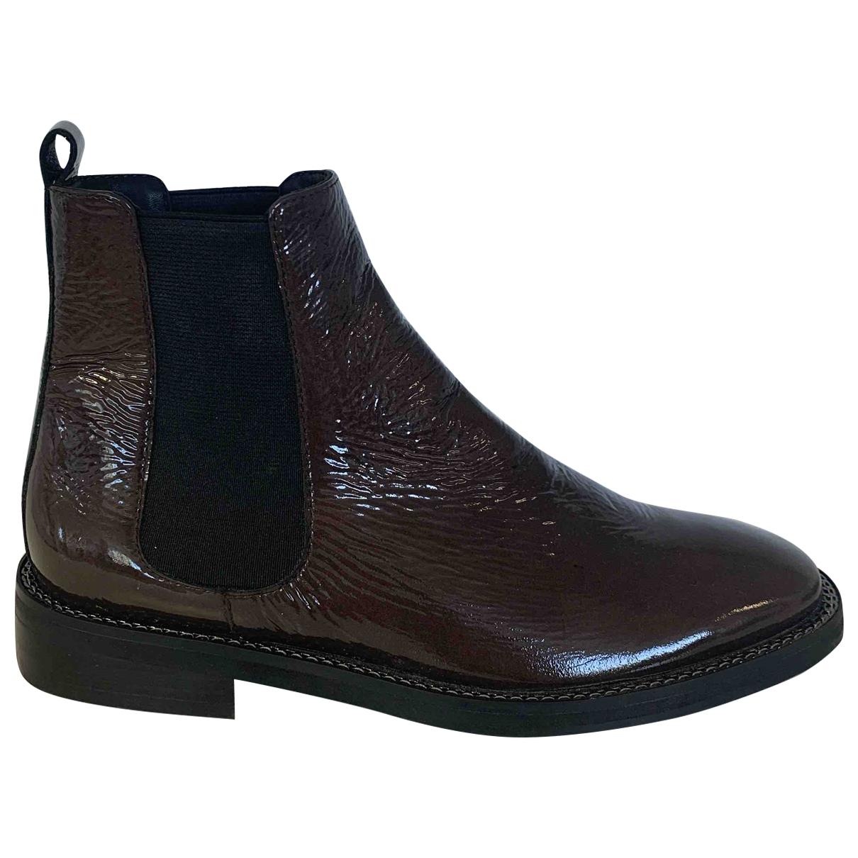 - Boots   pour femme en cuir verni - marron