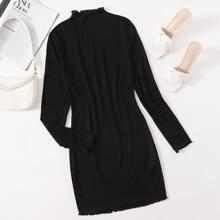 Mock-Neck Lettuce Trim Rib-knit Dress