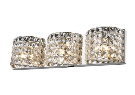 GL76 3-Light Wall Sconce with Stainless steel and Crystal Materials and 40 Watts in Clear