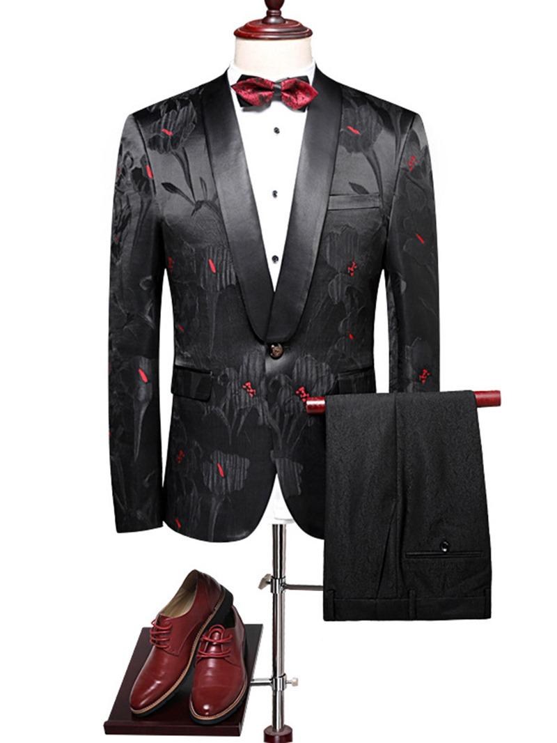 Ericdress Lapel Print Slim One Button Mens Blazer Suits