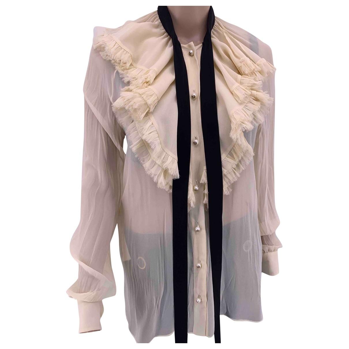 Gucci - Top   pour femme en soie - beige