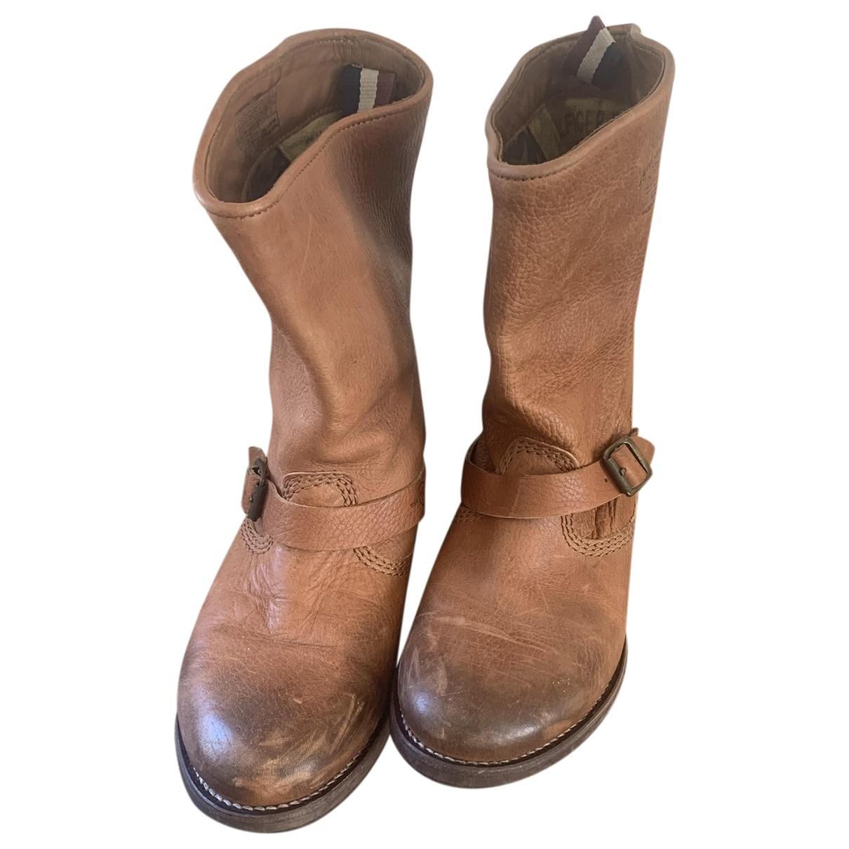 Tommy Hilfiger - Boots   pour femme en cuir - marron