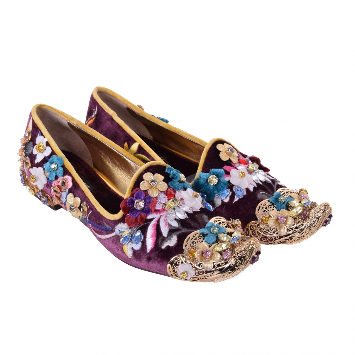 Dolce & Gabbana \N Purple Velvet Ballet flats for Women 35.5 EU