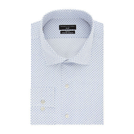 Shaquille O'Neal XLG Flex Collar Cooling Stretch Big and Tall Long Sleeve Broadcloth Dress Shirt, 18 36-37, Blue