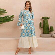 Floral Print Pleated Hem Belted Dress