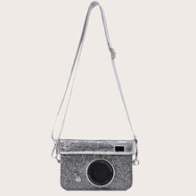 Rhinestone Decor Camera Design Crossbody Bag