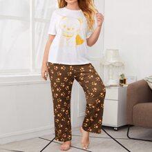 Plus Cartoon Graphic Top & Allover Print Pants PJ Set