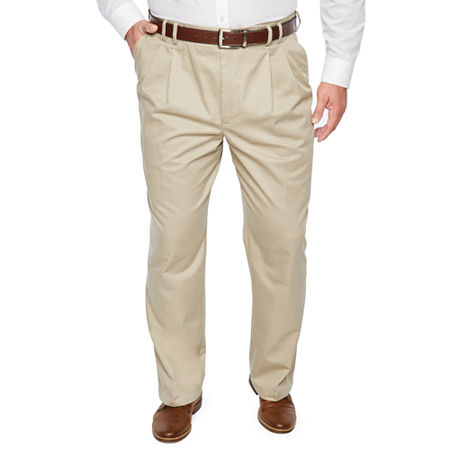 IZOD - Big and Tall Classic Fit Pleated Pant, 52 32, Beige