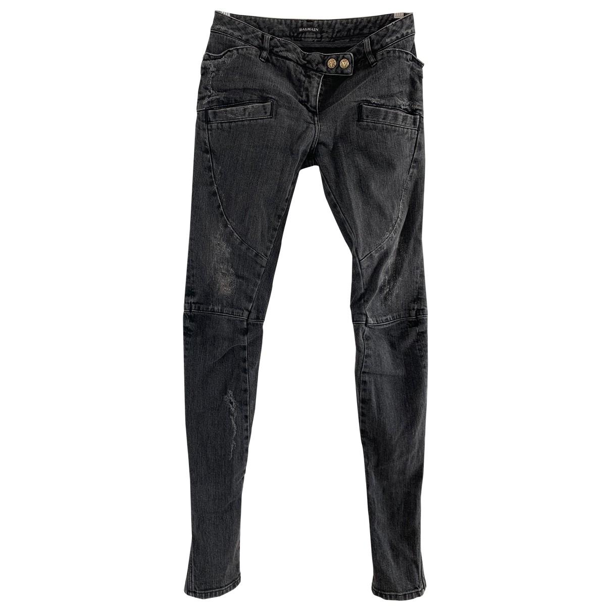 Balmain \N Grey Cotton Jeans for Women 36 FR