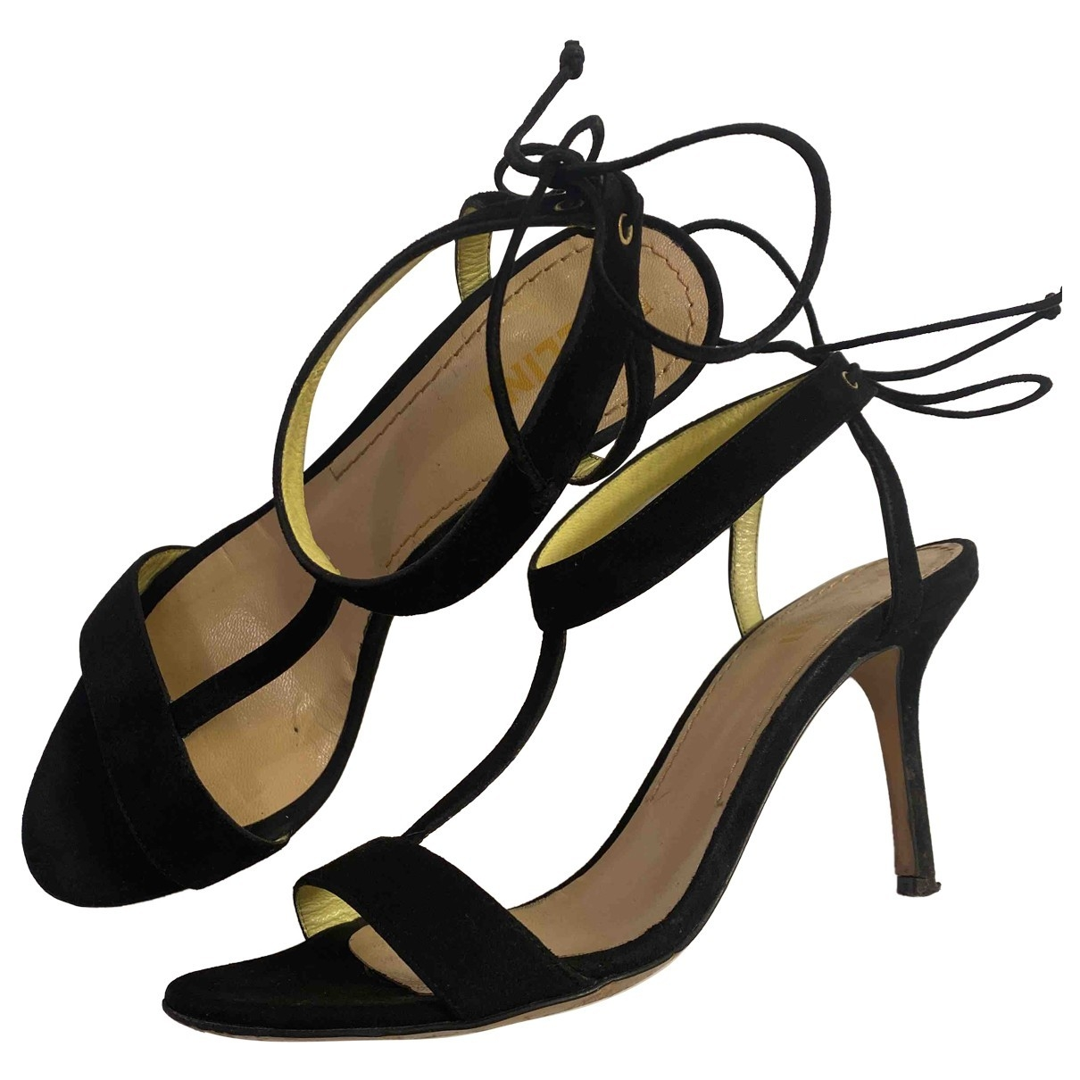 Pollini \N Black Leather Sandals for Women 36 EU