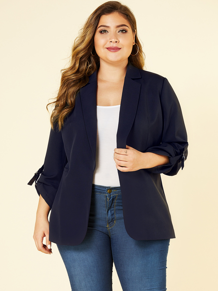 YOINS Plus Size Navy Lapel Collar Blazer