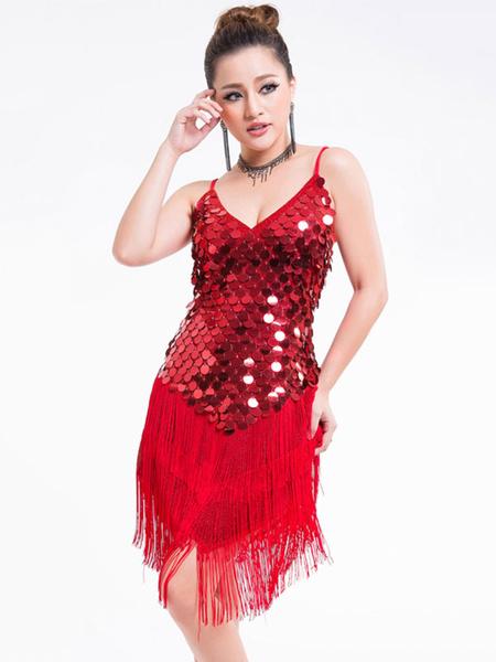 Milanoo Dance Costumes Latin Dancer Dresses Women Red Sequin Tassels Halter Short Sexy Dancing Wears Outfit Halloween