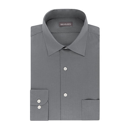 Van Heusen Lux Sateen Stretch Long Sleeve Dress Shirt - big and Tall, 20 34-35, Gray
