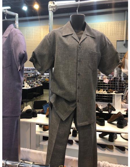 Apollo King Mens Casual Walking Suit Shirt & Pants Grey