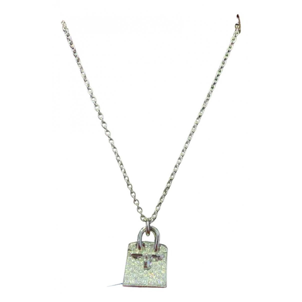 Hermes - Collier Amulette pour femme en or blanc - blanc