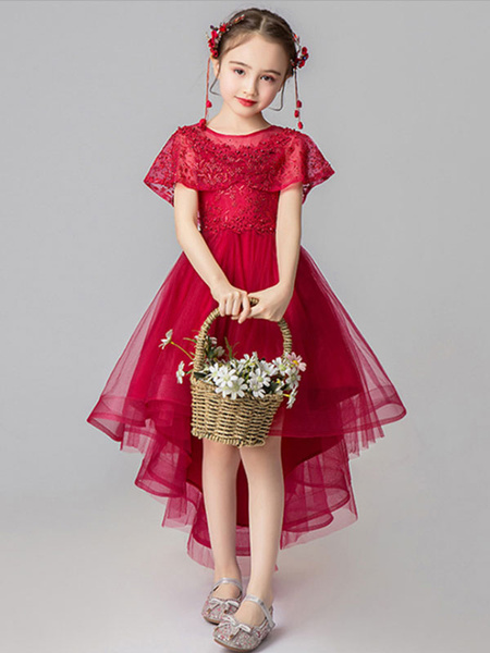 Milanoo Flower Girl Dresses Jewel Neck Tulle Sleeveless Asymmetrical Princess Silhouette Embroidered Kids Party Dresses