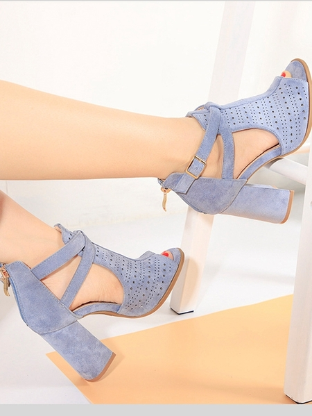 Yoins Sheer Hollow Zipper Sandals