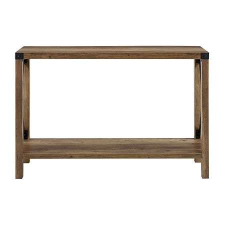 Farmhouse Rustic Wood Entryway Table, One Size , Brown