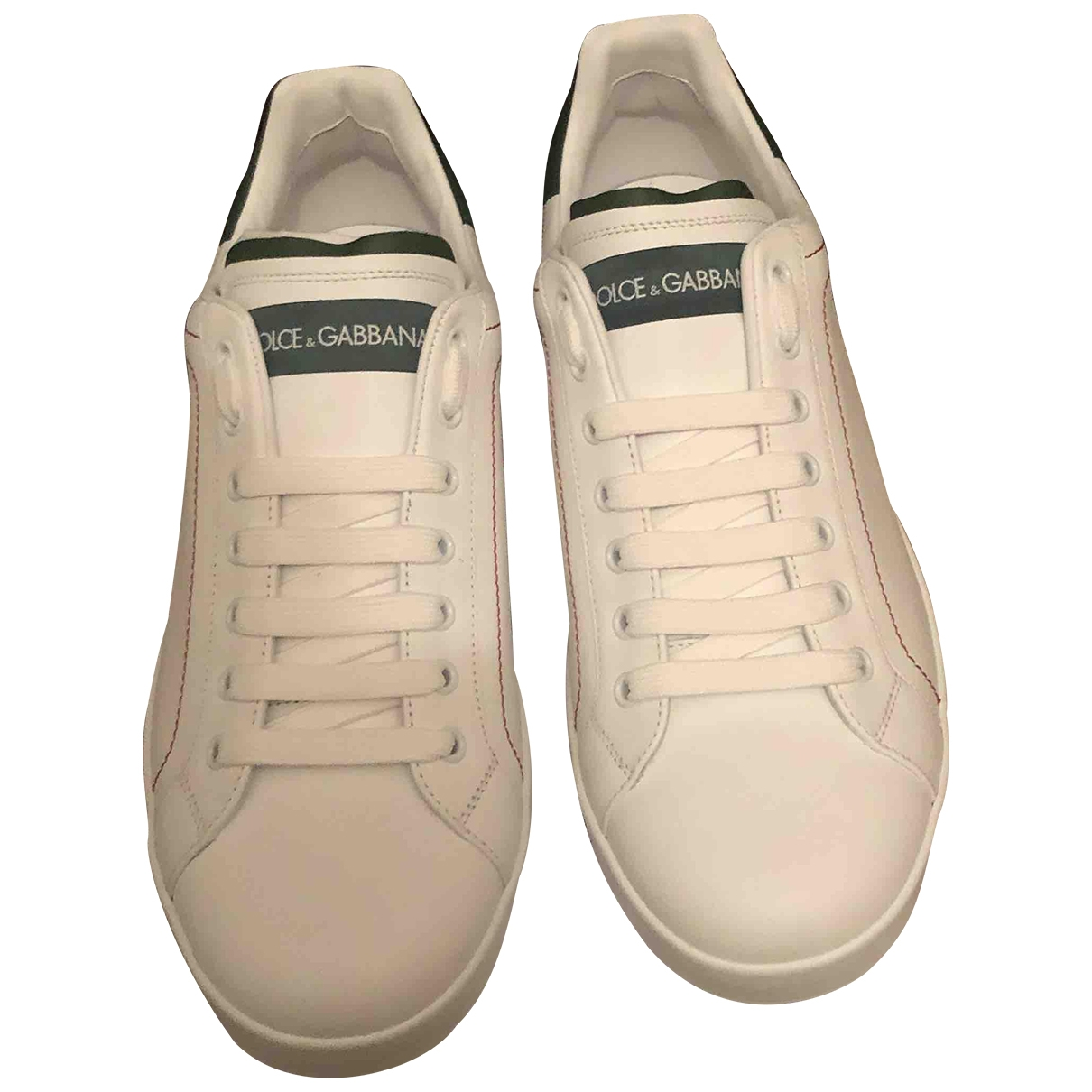 Dolce & Gabbana Portofino White Leather Trainers for Men 44 EU