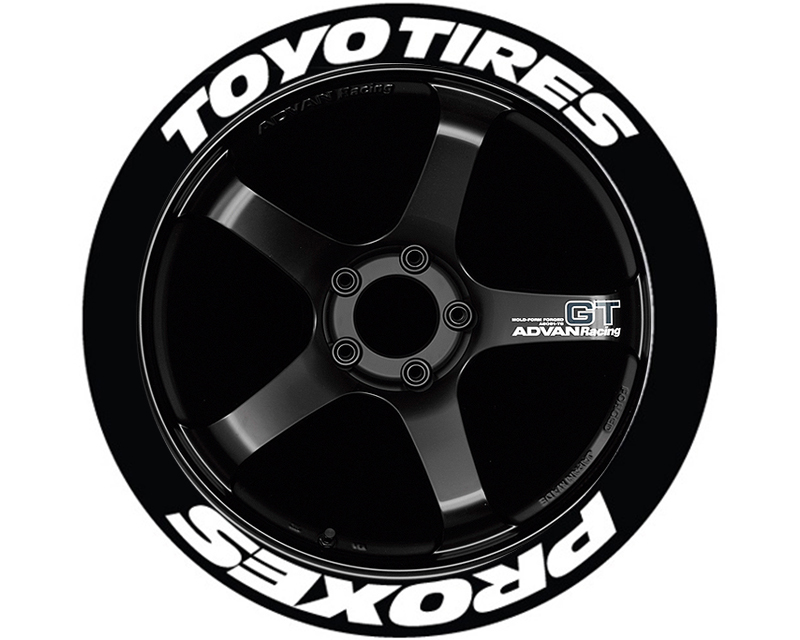 Tire Stickers TOYPRO-1921-1-4-W White 'Toyo Tires Proxes' Permanent Raised Rubber Lettering Set of 4 - 19
