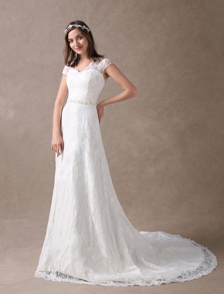 Milanoo Lace Wedding Dresses Ivory V Neck Chiffon Beading Sash Cap Sleeve Bridal Dress With Train