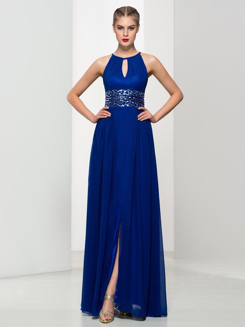 Ericdress A-Line Keyhole Neck Sequins Split-Front Long Prom Dress
