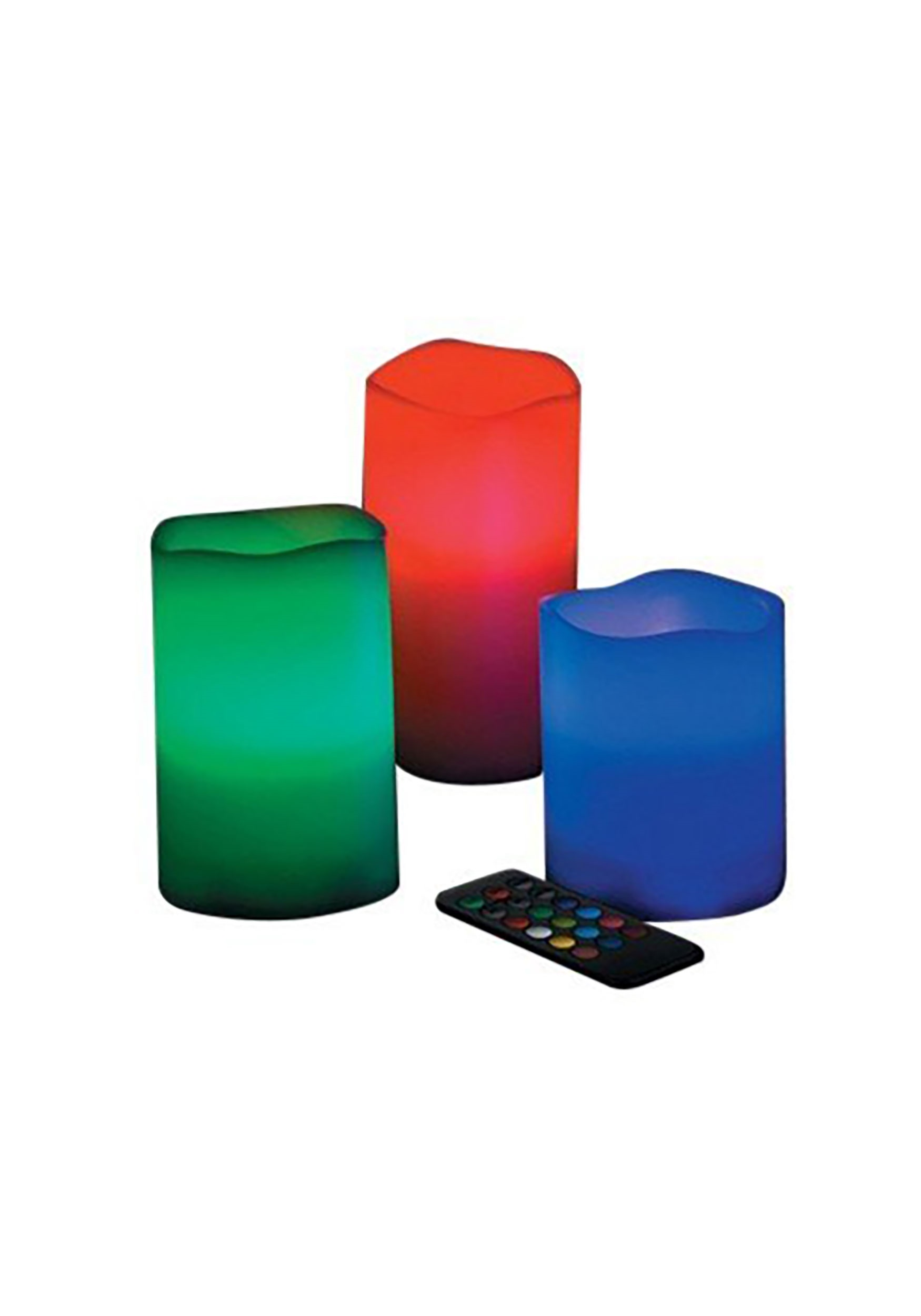 Color Changing Set of 3 LED Wax Pillar Candles