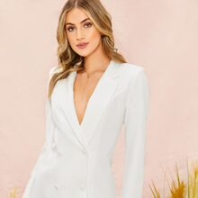 Lapel Collar Double Breasted Blazer Dress