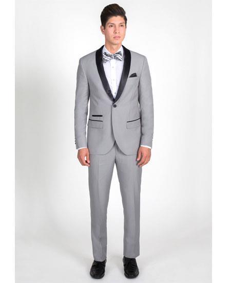 Men's 1 Button Light Gray Slim Fit Tuxedo with Black Shawl Lapel