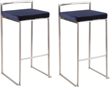 Fuji Collection B30-FUJIVBU2 Set of 2 Bar Stools with Stackable Design  Low Backrest  Footrest Support  Foam Padded Seat Cushion  Stainless Steel