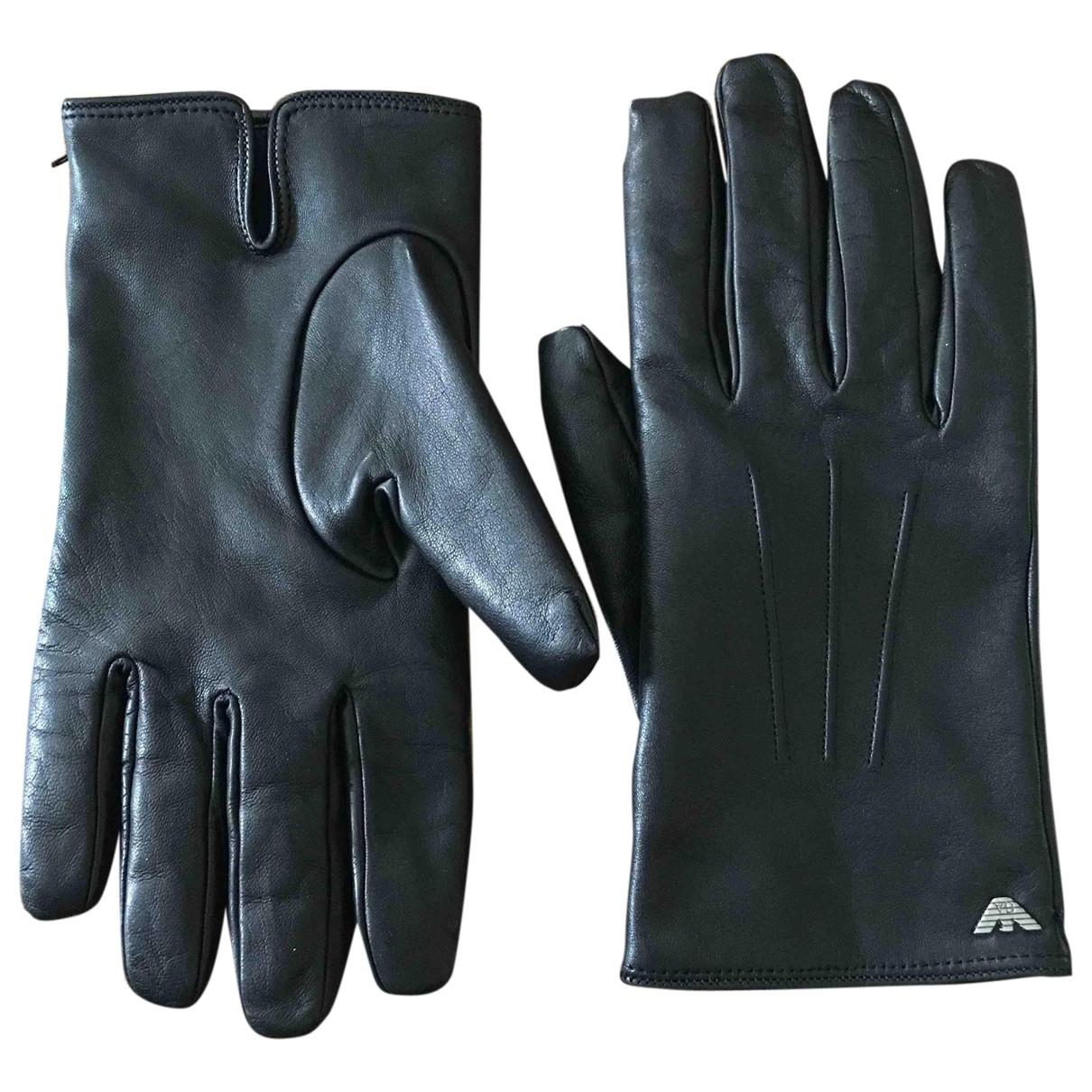 Emporio Armani \N Black Leather Gloves for Men L International