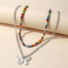 2 piezas collar con cuenta con diseño de mariposa