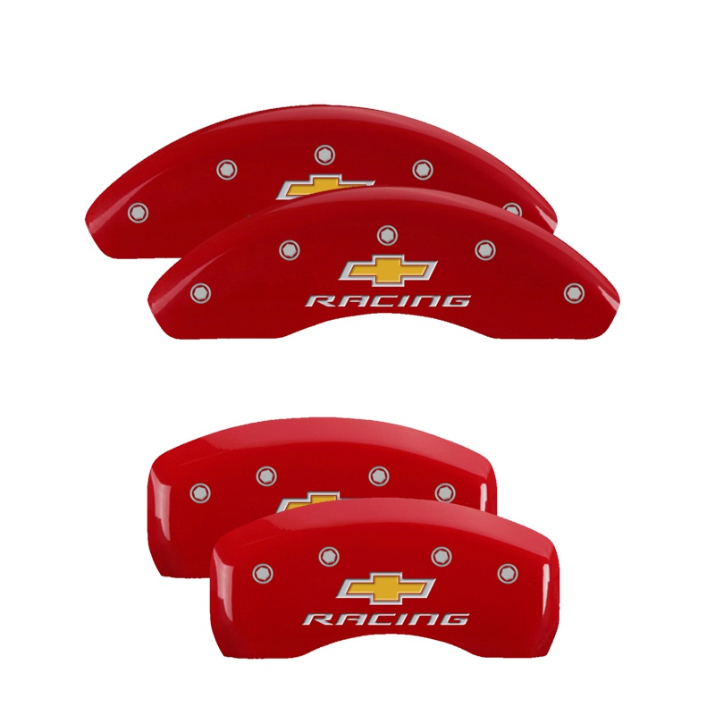 MGP Caliper Covers 14229SBRCRD Set of 4: Red finish, Silver Chevy Racing Chevrolet Sonic 2013-2016