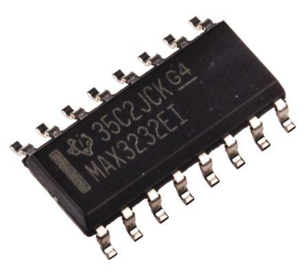 Texas Instruments MAX3232EID, Line Transceiver, RS-232 2-TX 2-RX, 3.3 V, 16-Pin SOIC (5)