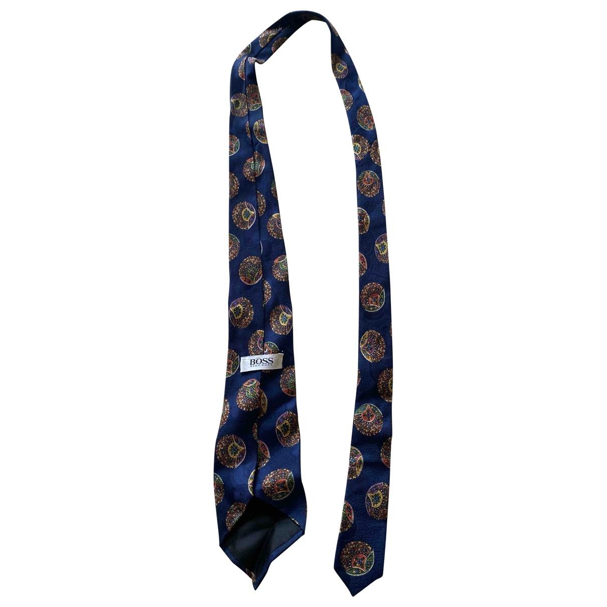 Boss - Cravates   pour homme en soie - bleu