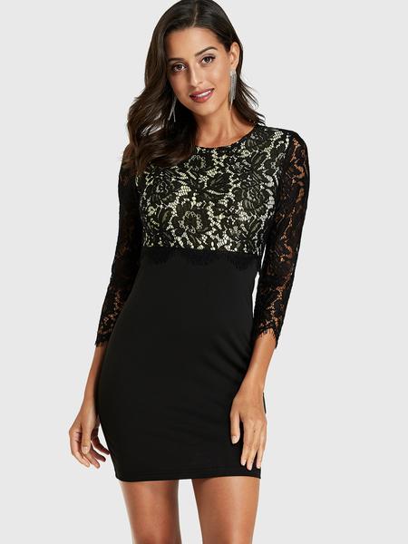 YOINS Black Lace Patchwork Round Neck Dress