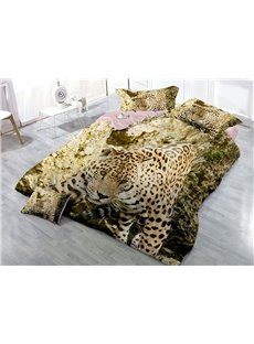 Walking Leopard Wear-resistant Breathable High Quality 60s Cotton 4-Piece 3D Bedding Sets