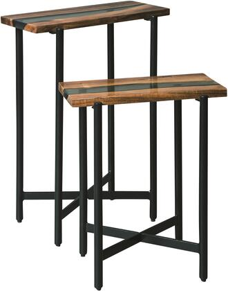 Rivers Edge Collection AWRE0120N 18 Acacia Wood and Acrylic Nesting End Tables  Set of