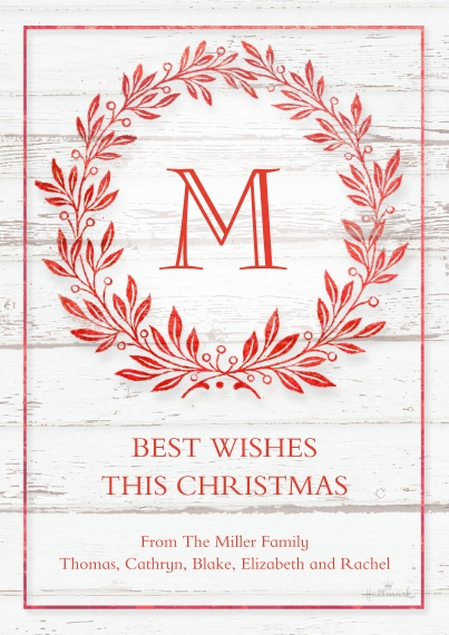 Christmas Photo Cards 5x7 Cards, Premium Cardstock 120lb with Scalloped Corners, Card & Stationery -Monogram Wreath Woodgrain